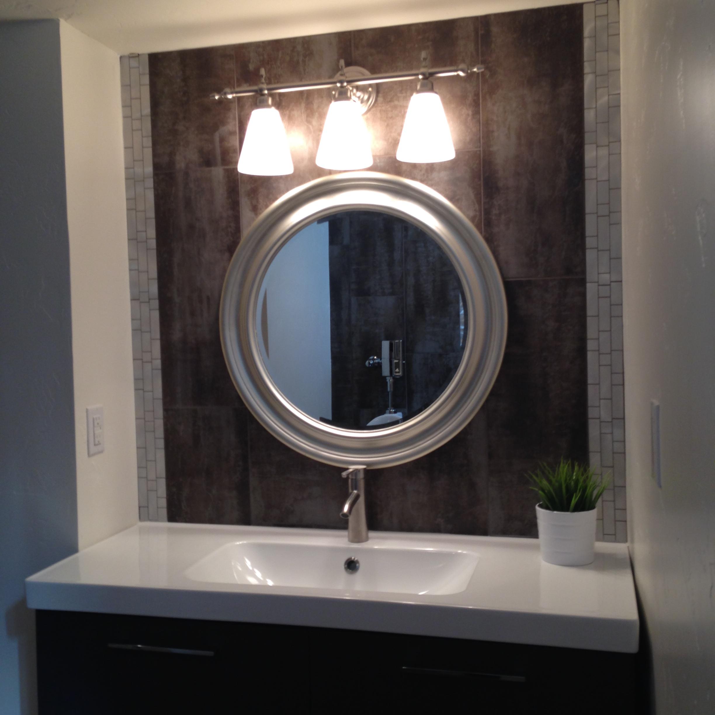 basement bath vanityikea cabinet faucet and sink metallica 12x24 tile